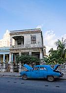 Old American car in Havana Vedado, Cuba.