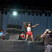 Friday, August 1, 2008; The Go! Team performs at Lollapalooza 2008 featuring Ninja (Nkechi Ka Egenamba) - rapper/vocalist, Ian Parton - electric guitar, harmonica, and drums, Sam Dook - electric guitar, banjo, and drums, Chi Fukami Taylor - drums, vocals, Kaori Tsuchida - vocals, electric guitar, keys, and melodica, Jamie Bell - bass.<br /> Photo by Bryan Rinnert