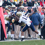 Army WR (#13) Davyd Brooks pass incomplete, Navy CB (#11) Kwesi Mitchell makes the stop. Navy set the tone early in the game as Navy defeats Army 31-17 in front of 69,223 at Lincoln Financial Field in Philadelphia Pennsylvania