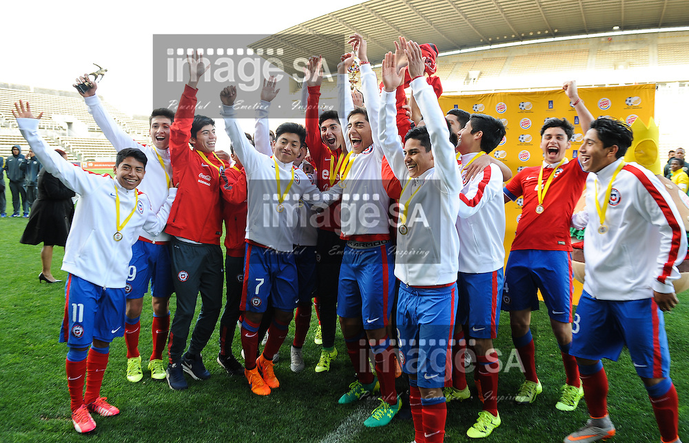 CAPE TOWN, SOUTH AFRICA - Sunday 27 September 2015: the Chileans celebrate their victory during the U17 International friendly soccer match between South Africa v Chile at Athlete Stadium. (Photo by Roger Sedres/ImageSA)