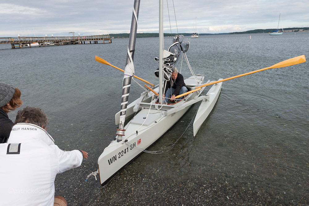 A brief test of a just finished boat, the day before the race.<br />