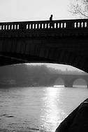 France. Paris.4th district.the Seine river . Bourbon quay on Saint Louis island ,  / la pointe de l ile Saint Louis,