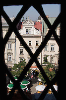 View from clock tower in the market tower of Krakow Poland