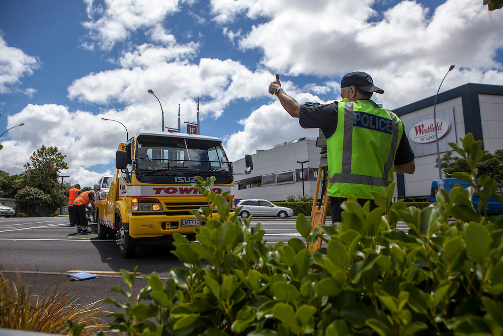A motorist collided with another vehicle at the busy intersection of St Lukes Road and Morningside Drive after suffering an unknown medical issue which he died from, Auckland, New Zealand, Thursday, November 28, 2013. Credit:SNPA / Bradley Ambrose