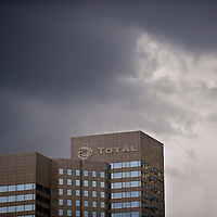 storm above headquarter of oil majot Total, paris, ladefense