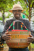 Sia Yambire with his Bolga baskets at the Calistoga Saturday Market