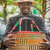 Sia Yambire with his Bolga baskets at the Calistoga Saturday Market