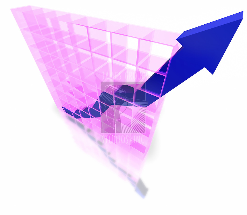 3D graph showing increasing profits isolated on white