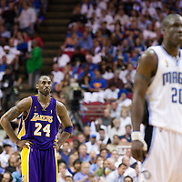 09 June 2009: Kobe Bryant of the Los Angeles Lakers rests behind Mickael Pietrus of the Orlando Magic during game 3 of the 2009 NBA Finals won 108-104 by the Orlando Magic over the Los Angeles Lakers at Amway Arena, in Orlando, Florida, USA.