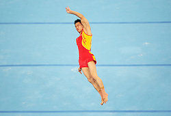 Chinese gymnast Yang Wei performs on the floor during a training session in the National Indoor Stadium ahead of the opening of the Olympic games in Beijing, China, 06 August 2008.