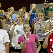 """MOC-Floyd Valley High School band members practice breathing down a tube at summer band camp in August.  """"Look around you,"""" said band director Steve Connell on the first day of camp.  """"In this room ar the leaders of the school.  The most intelligent kids in the school... National Honor Society members... athletes.  I'm so blessed."""""""
