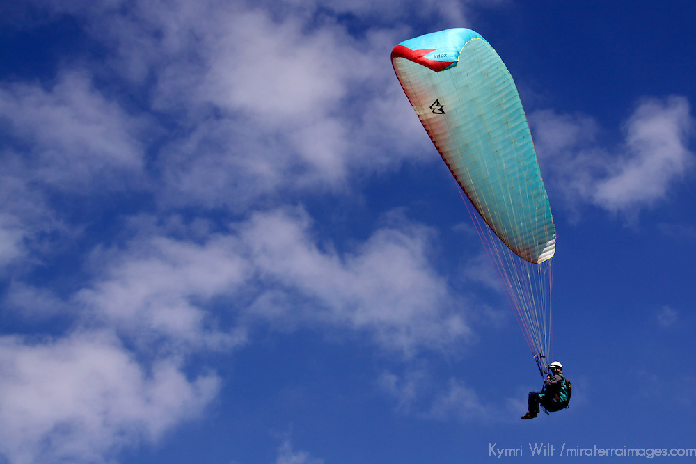USA, California, San Diego. Torrey Pines Paraglider and Clouds.