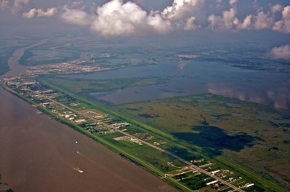 Venice, Louisiana, USA, View South from Mississippi River, Grand Pass (upper left).