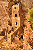 Square Tower House cliff dwelling.  Mesa Verde National Park. Image taken with a Nikon D3 camera and 80-400 mm VR lens (ISO 200, 165 mm, f/5. 1/160 sec).