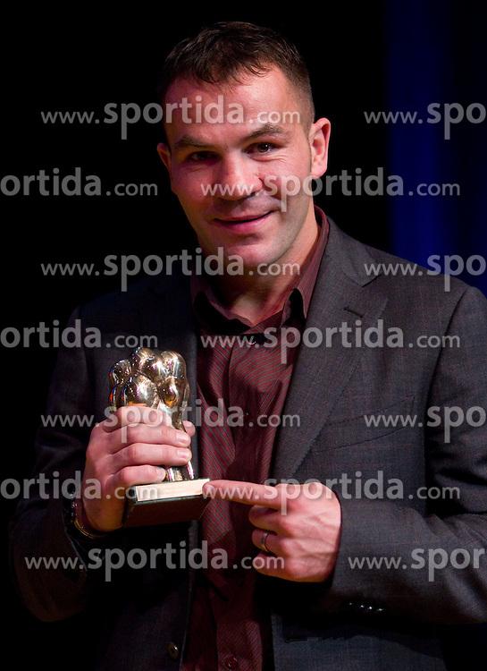Dejan Zavec with his trophy at Slovenian Sportsman of the year and Slovenian Sportswoman of the year 2010 annual awards presented on the base of Slovenian sports reporters, on December 22, 2010 in Cankarjev dom, Ljubljana, Slovenia. (Photo By Vid Ponikvar / Sportida.com)