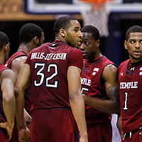 INDIANAPOLIS, IN - JANUARY 26: Members of the Temple Owls gather to talk during a break in action against the Butler Bulldogs at Hinkle Fieldhouse on January 26, 2013 in Indianapolis, Indiana. (Photo by Michael Hickey/Getty Images)