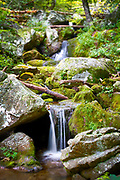 USA, Virginia, Blue Ridge. One of the several small waterfalls that comprise Crabtree Falls.