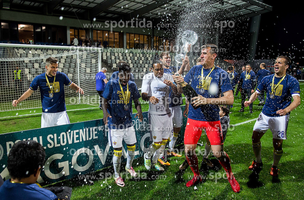Jasmin Handanovic #33 of NK Maribor and other Players of Maribor celebrate after winning during football match between NK Celje and NK Maribor in Final of Slovenian Cup 2016, on May 25, 2016 in Stadium Bonifika, Koper, Slovenia. Photo by Vid Ponikvar / Sportida