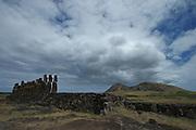 The line of fifteen moai at Tongariki look inland towards the Rano Raraku volcano on Easter Island