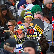 SHOT 1/26/08 3:59:15 PM - Norwegian snowboarder Andreas Wiig (center) was all smiles after winning the Snowboard Slopestyle event Saturday January 26, 2008 at Winter X Games Twelve in Aspen, Co. at Buttermilk Mountain. Wiig won the event with a score of 92.00, beating out U.S. riders Kevin Pearce (88.33) and Shaun White (83.33). It was the second year in a row Wiig has won gold in the event. The 12th annual winter action sports competition features athletes from across the globe competing for medals and prize money is skiing, snowboarding and snowmobile. Numerous events were broadcast live and seen in more than 120 countries. The event will remain in Aspen, Co. through 2010..(Photo by Marc Piscotty / WpN © 2008)
