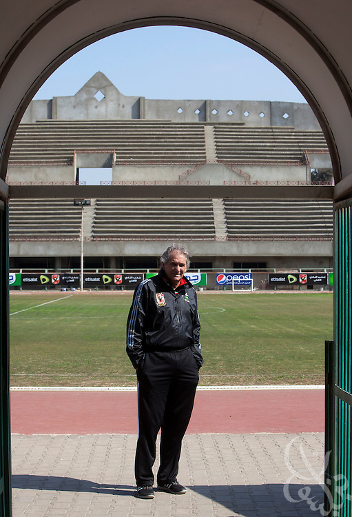 Manuel Jose, the Portuguese Coach of the Egyptian football team Al-Ahly poses for a portrait following a team workout Feb 20, 2012 at the Ahly club stadium in Cairo, Egypt. Jose returned to Egypt Feb 16 to resume his job of coach of Al-Ahly in the wake of post-football match violence February 2nd, 2012 that killed 74 and injured hundreds more in the Port Said, Egypt stadium.  (Photo by Scott Nelson)