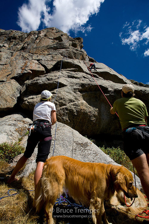 Climbers doing some cragging in the cirque of the Towers, Wind River Range, Wyoming