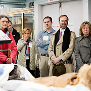 03/11/2011 - Boston, Mass. - First year medical student Tess Jasinski shows touring parents a cadaver in the Anatomy classroom at the Tufts University School of Medicine's Biomedical Research and Public Health Building on Friday, March 11, 2011. (Emily Zilm for Tufts University)