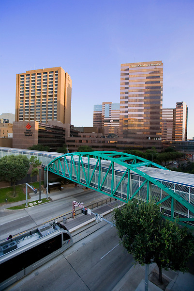 Houston MetroRail train passing by Texas Children's Hospital in the Texas Medical Center.