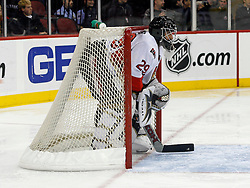 February 13, 2008; Newark, NJ, USA;  Ottawa Senators goalie Martin Gerber (29) relaxes in his net during the second period at the Prudential Center in Newark, NJ.