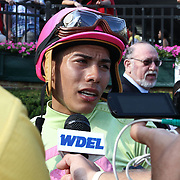 Jockey Jose Ortiz interview with the media after upsetting Princess of Sylmar in the 77th running of The Delaware Handicap Saturday, July 12, 2014, at Delaware Park Race Track in Newark, DEL.  <br /> <br /> The Delaware Handicap is for Fillies and Mares three years old and upward and the winner is rewarded $750.000