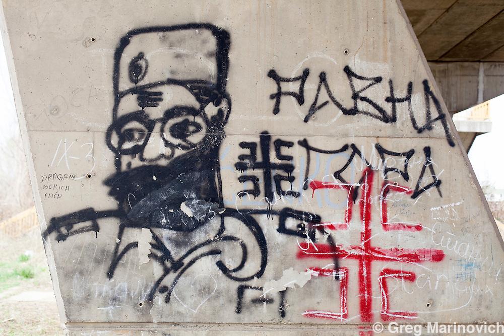 Zvornik, Bosnia and Herzegovina, Republika Srpska, Graffiti about Draa Mihailovi, WWII leader of the extremist Chetnik movement in former Yugoslavia.   April 4, 2012. Greg Marinovich