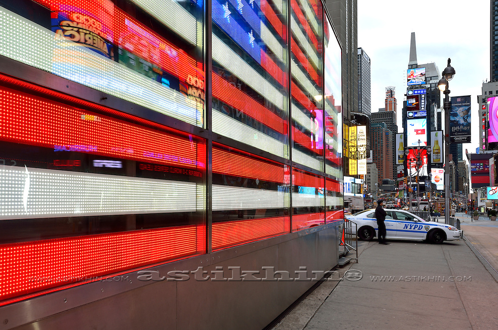 Flag of U.S.A. on Time Square.