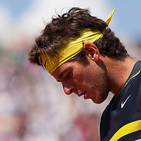 1 June 2009: Juan Martin Del Potro of Argentina is seen during the Men's Single Fourth Round match on day nine of the French Open at Roland Garros in Paris, France.