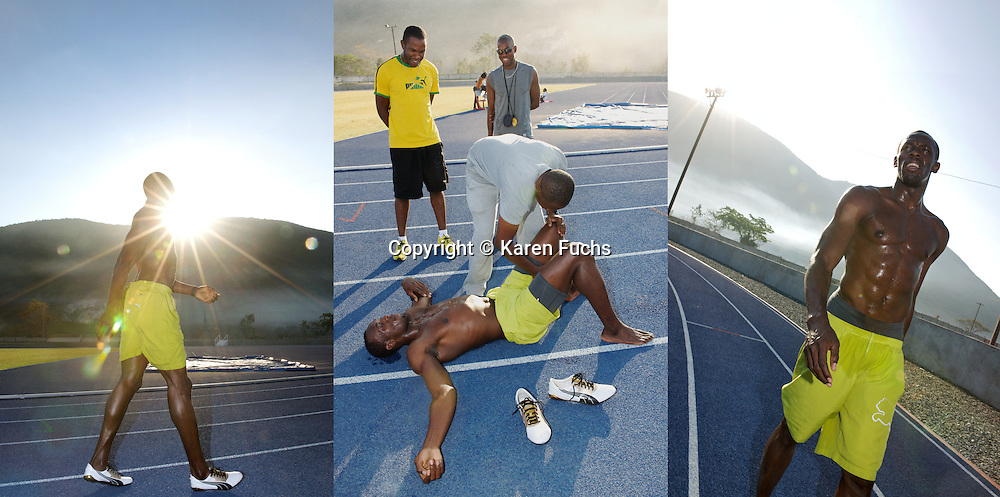 Usain Bolt at early morning training on the track in Kingston Jamaica, 2011