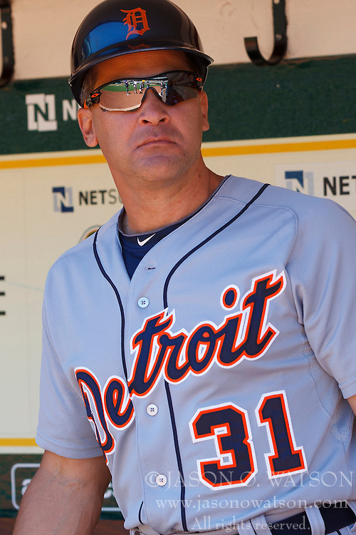 OAKLAND, CA - MAY 26:  Omar Vizquel #31 of the Detroit Tigers stands in the dugout before the game against the Oakland Athletics at O.co Coliseum on May 26, 2014 in Oakland, California. The Oakland Athletics defeated the Detroit Tigers 10-0.  (Photo by Jason O. Watson/Getty Images) *** Local Caption *** Omar Vizquel