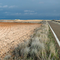 Stormy day. Los Monegros is one of the most emblematic territories of Aragon. Its personality is marked by the dryness of the climate and shapes of relieve associated with the dry land.