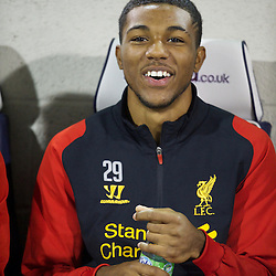 WEST BROMWICH, ENGLAND - Wednesday, September 26, 2012: Liverpool's 16-year-old Jerome Sinclair on the bench against West Bromwich Albion during the Football League Cup 3rd Round match at the Hawthorns. (Pic by David Rawcliffe/Propaganda)