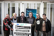 Barcelona, Spain, November 2012. 22nd day of hunger strike by Telefonica employees. Joan Tard&agrave;, ERC Congressman, accompanies the strikers at the headquarters of Telef&oacute;nica in an effort to mediate a meeting with the directors.<br />