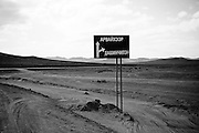 A direction sign in the middle of nowhere in north west Mongolia.