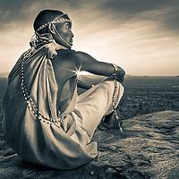 Samburu warrior at sunset in northern Kenya