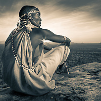 Samburu warrior at sunset in northern Kenya