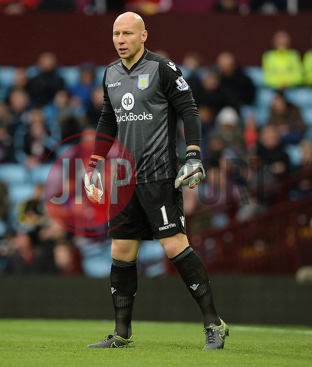 Brad Guzan of Aston Villa - Mandatory byline: Alex James/JMP - 07966 386802 - 24/10/2015 - FOOTBALL - Villa Park - Birmingham, England - Aston Villa v Swansea City - Barclays Premier League