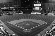 [Note: This photo was converted to black and white during post-processing.} A general view of Orioles Park at Camden Yards during a game between the Los Angeles Angels and Baltimore Orioles on June 10, 2013 in Baltimore, Maryland.  The Orioles defeated the Angels 4 to 3.  Photo: Ben Krause