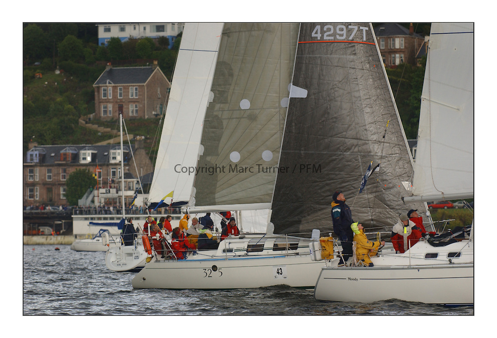 Yachting- The first days racing  of the Bell Lawrie Scottish series 2003 at Gourock.  The wet start looks set to last for the overnight race to Tarbert...CYCA Class five Start off Gourock, Tangle of the Isles 4297T..Pics Marc Turner / PFM