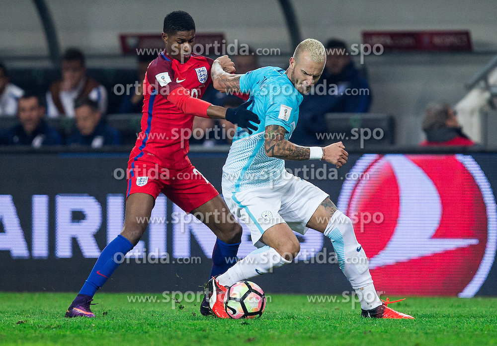 Marcus Rashford of England vs Aljaz Struna of Slovenia during football match between National teams of Slovenia and England in Round #3 of FIFA World Cup Russia 2018 Qualifier Group F, on October 11, 2016 in SRC Stozice, Ljubljana, Slovenia. Photo by Vid Ponikvar / Sportida