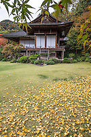 """Okochi Sanso """"Mountain Villa"""" is the former home and garden of the Japanese film actor Denjiro Okochi in Arashiyama, Kyoto. The villa is known for its gardens and buildings that are recorded as cultural properties by the national government including: a traditional Japanese villa and teahouses set within a Japanese strolling garden. They were built up over the years by Okochi to as one of his residences, but were opened to the public after his death in 1962. The various gardens were designed to show off each of the four seasons."""