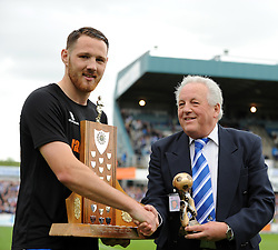 Supporters Club player of the year Bristol Rovers' Tom Parkes with Jim Chappell - Photo mandatory by-line: Neil Brookman/JMP - Mobile: 07966 386802 - 25/04/2015 - SPORT - Football - Bristol - Memorial Stadium - Bristol Rovers v Alfreton Town - Vanarama Football Conference