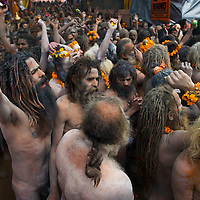 Hundreds of Naga Sadhus gathered in the compound of Maya Devi Temple, befoe going in a procession to take a holy dip in the ganges.<br />