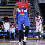 Delaware 87ers Guard Jamal Jones (22) celebrates after hitting a three pointer in the first half of a NBA D-league regular season basketball game between the Delaware 87ers and the Grand Rapids Drive (Detroit Pistons) Saturday, Apr. 04, 2015 at The Bob Carpenter Sports Convocation Center in Newark, DEL.