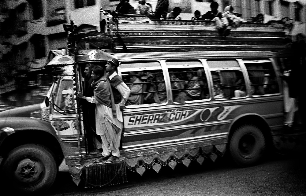 Heavily decorated bus, Old City Peshawar Pakistan....